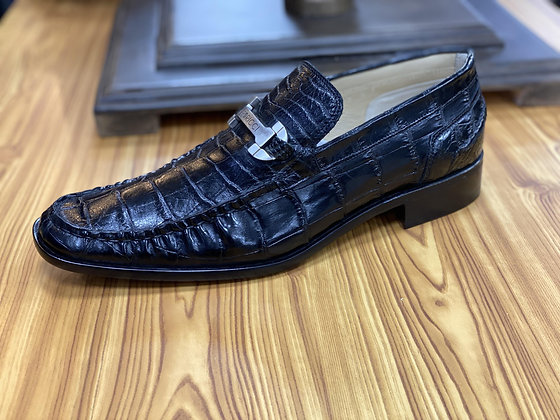 "Caporicci Alligator shoe Black bit loafer ""9318"""