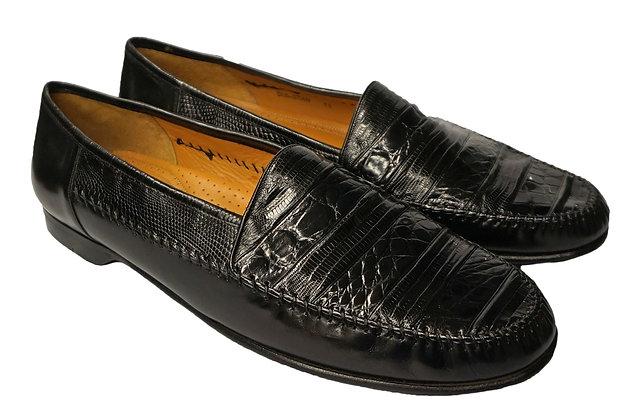 "Mezlan ""Sebastian"" Black Lizard Loafers"