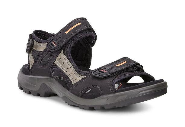 "Ecco (Yucatan) ""Black/Mole/Black"" Sandal"