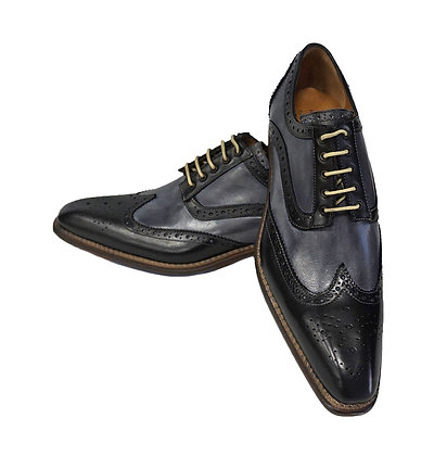Jose Real (Black & Gray) Italian Wing tip Shoe, Hand Painted