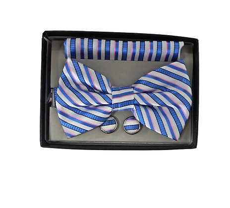 Bow Tie Set, Matching Hanky and Cuff Link, blue and White