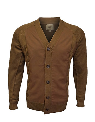 Cigar Couture  (Camel), Wool Blend, Men's cardigan sweater