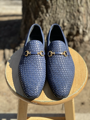Navy Blue Woven Leather and Suede Bit loafer for men By Corrente