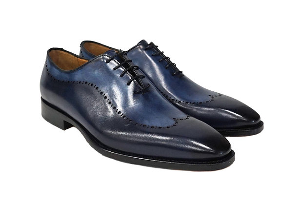 Perforated Blue Wingtip Italian Oxfords By Jose Real (A868)