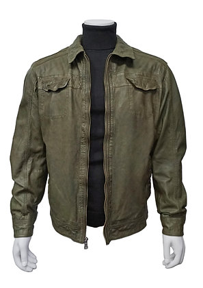 Missani Le Collezioni Olive Green Vintage Lambskin leather jacket