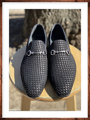 Black Woven Leather and Suede Bit loafer for men By Corrente