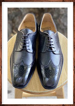 "Black Mens Italian Brogue Wingtip Oxford Shoes by Calzoleria Toscana ""7181"""