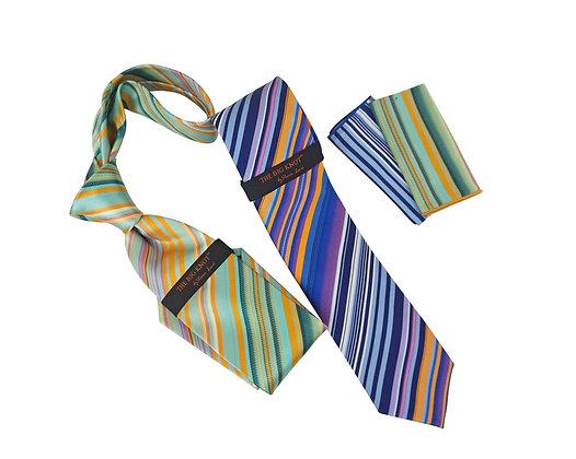 Steven Land Silk diagonal striped tie and hanky set tie