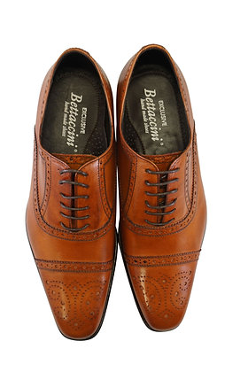 Bettaccini Mahogany Italian Brogue Cap Toe shoe - Front view