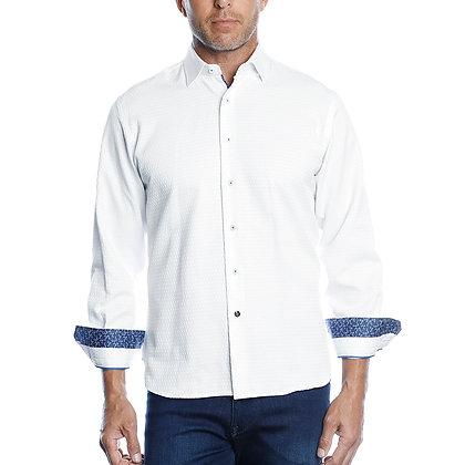 Luchiano Visconti White Tone on Tone Shirt 43102