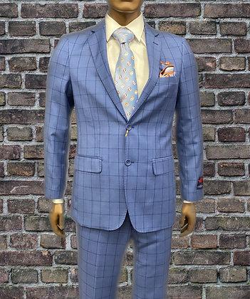 Mantoni Blue Plaid Men's Modern Fit Wool Suit