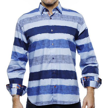 Luchiano Visconti (Multi Blue) Horizontal striped shirt