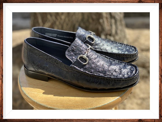 """Calzoleria Toscana Blue Italian Ostrich loafer """"3238 - angle View"""