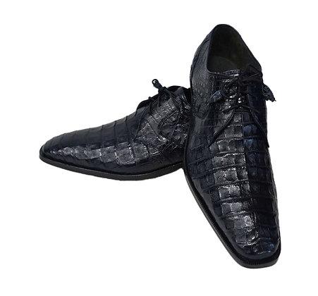 Los Altos Navy blue Caiman Belly Lace Up Dress Shoe