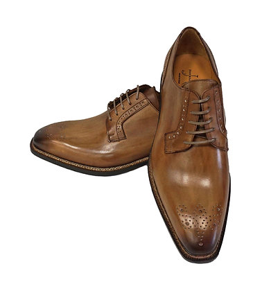 Jose Real Light brown Burnished toe Italian shoe, Hand Painted
