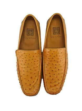Ugo Vasare Camel ostrich Low Heel Loafer, Size 10