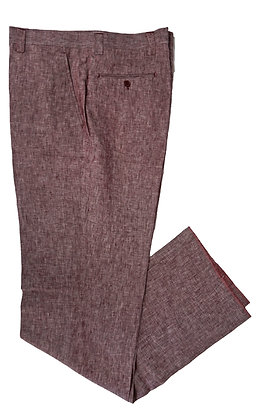 Inserch Burgundy Linen pants, flat front, classic fit