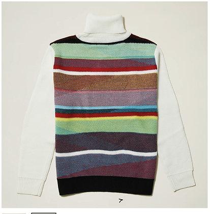 Mens multi color turtleneck sweater