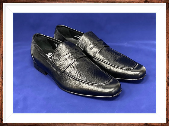 "Mens Black Deer skin Italian Penny Loafers by Calzoleria Toscana ""6903"""