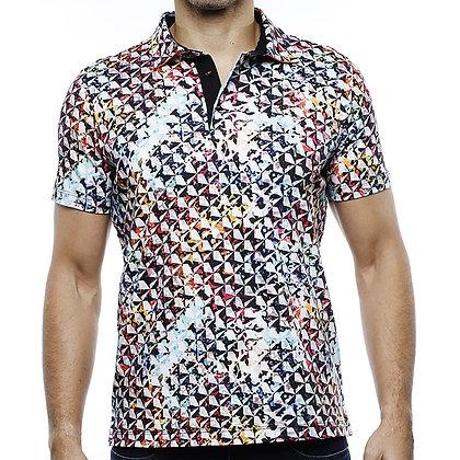 Men's Luchiano Visconti Black Multi stretch Polo shirt