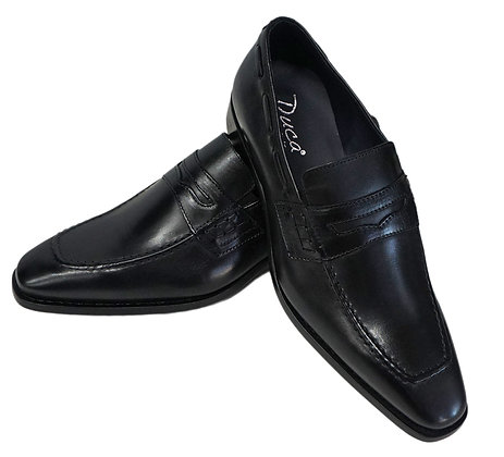 Duca Black Italian Penny Loafers