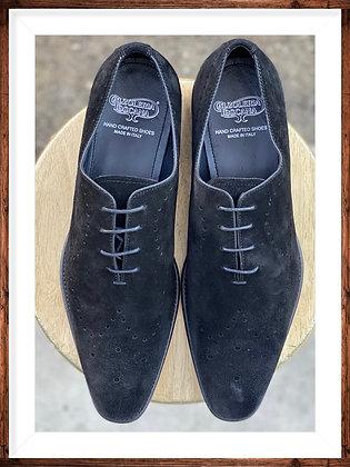 Men's Italian Peforate Suede Wingtip Shoe By Calzoeria Toscana   Black   8712