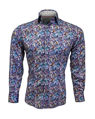 Mens casual button down skull pattern shirt by Luchiano Visconti (4280)