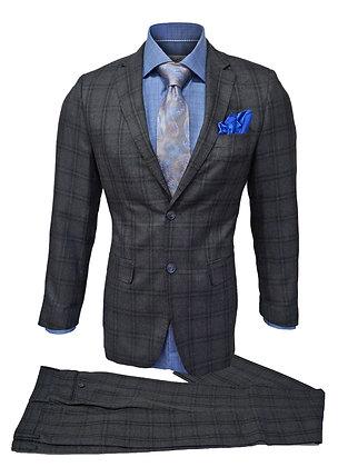 Bertolini Gray Wool & Silk Blen Suit