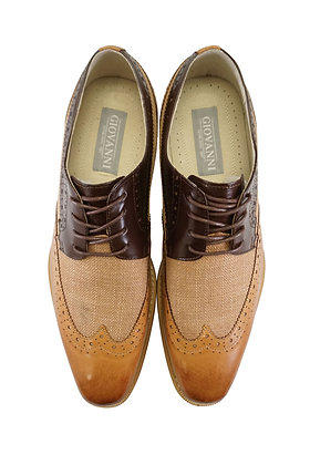 "Giovanni ""Hunter"" Tan/Chocolate Brown Men's Linen and Leather Wingtip shoes - Front view"