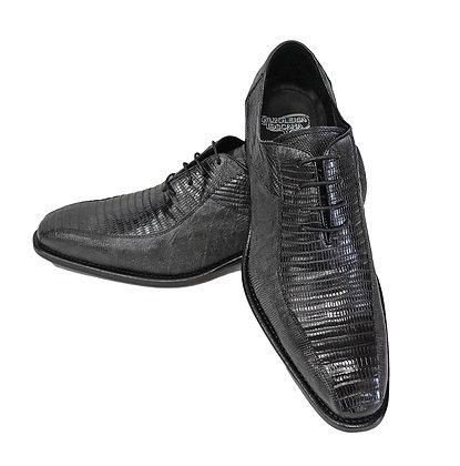 Genuine Teju Lizard Gray Italian Shoe By Calzoleria Toscana (5073)