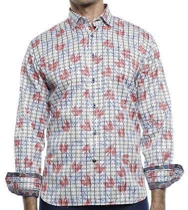 Luchiano Visconti (4178 - White Multi) Mens Button down shirt