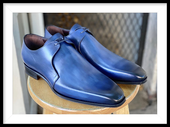 "Men's Blue Italian Single Eyelet Oxford Shoes by Emilio Franco ""Azzurro"""