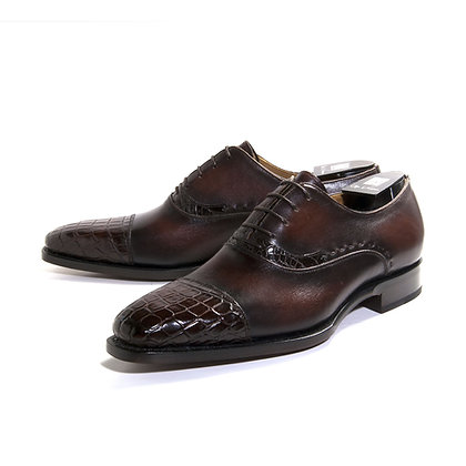"Mens Dark Brown Alligator Cap Toe Shoe by Ugo Vasare ""Aberto"""