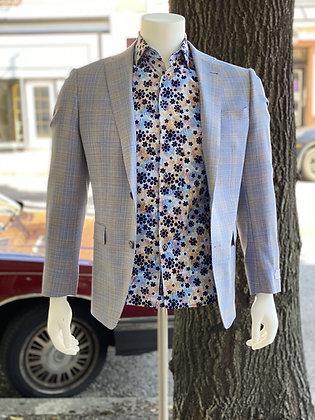 S. Cohen Blue Plaid Blazer Jacket for Men
