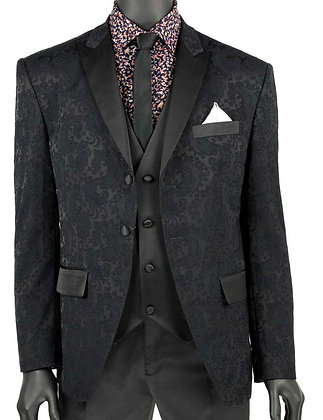 Men's Vinci Black Textured Slim fit Tuxedo suit