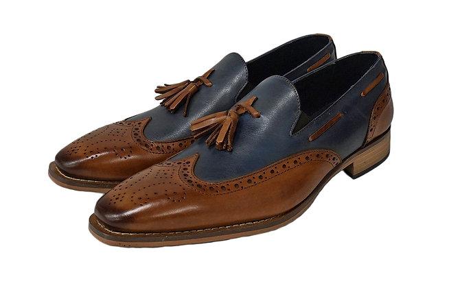 Duca two tone Italian tassel loafer
