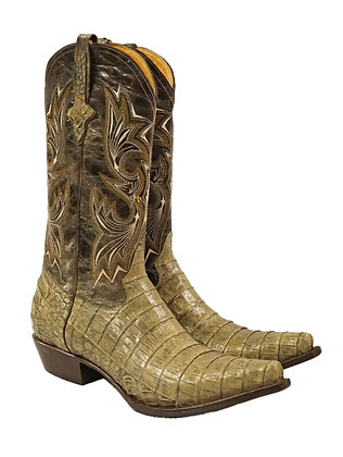 Access Caiman Belly Antique Cowby Boot, V-Toe, Western