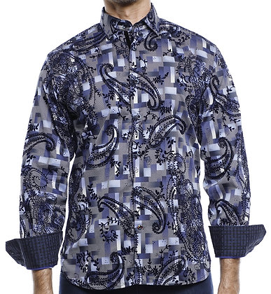 Luchiano Visconti Navy Blue button down shirt with Flocking