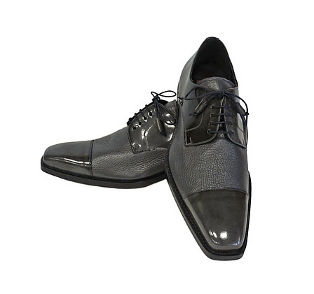 Mezlan (Soka - Gray) Cap Toe shoe, Calfskin & Deerskin