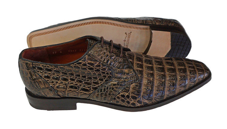 Los Altos Rustic Brown Full Caiman Belly Shoe - Size 8 EE