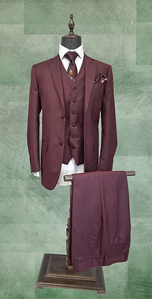 Three Piece  Burgundy Sharkskin Suit for Men, Classic Fit