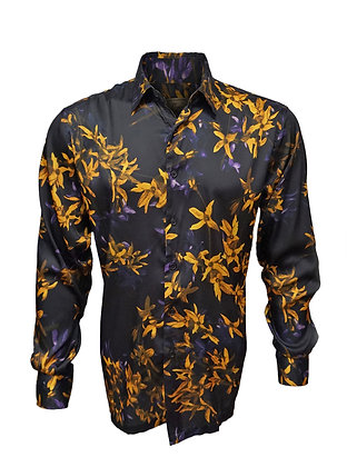 Cigar Couture Black Silky style Button down shirt