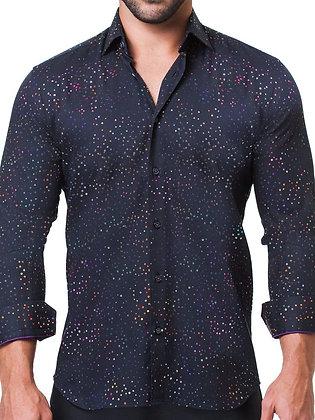 Maceoo Fibonacci Celebration Black Button Down, Tapered shirt