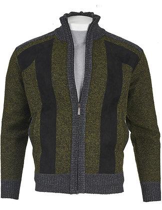 Inserch green Marled Yarn Full-Zip sweater