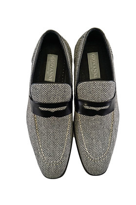 Giovanni Black Tweed moccasin style penny Loafer shoes for men