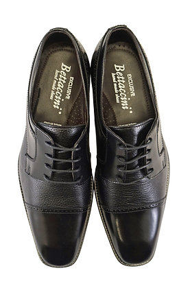 Bettaccini Black Cap Toe Italian Oxford dress shoe - front view