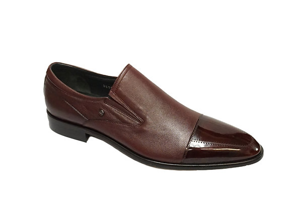 Corrente (3519 - Burgundy) Cap Toe Loafer Shoe