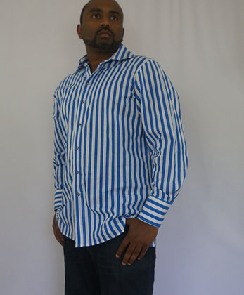 Monzini blue striped button up shirt made in USA