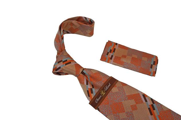 Steven Land (Orange) Tie and Hanky Set