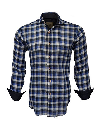 Cigar Couture (Navy) Button Down Linen Shirt